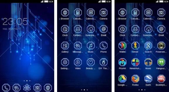 c launcher themes Blue Matrix C Launcher Theme