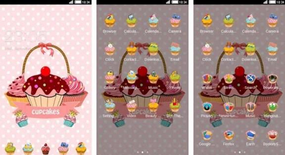 c launcher themes Pink Cupcake Sweet Cake Theme