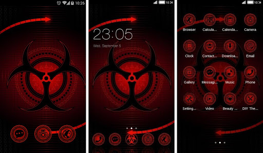 c launcher themes abstract red black cool theme