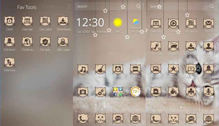 tema android lucu cute kitty theme