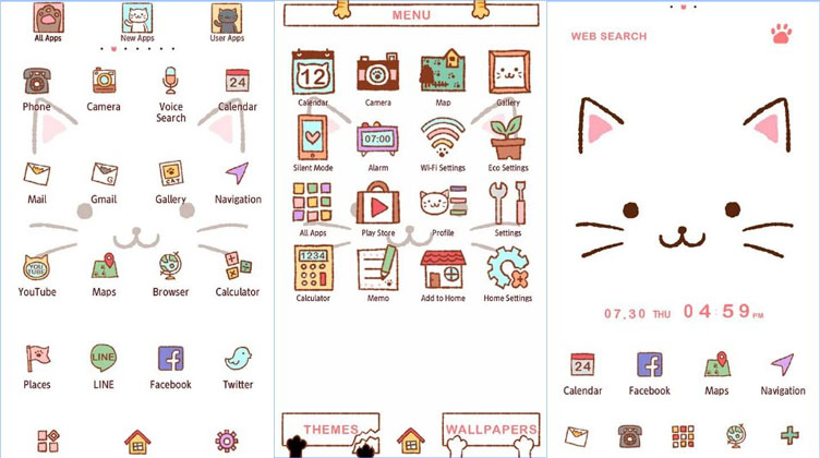 tema android lucu cute theme kitty face