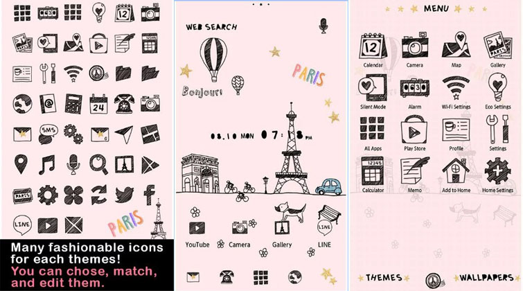 tema android lucu cute theme little paris