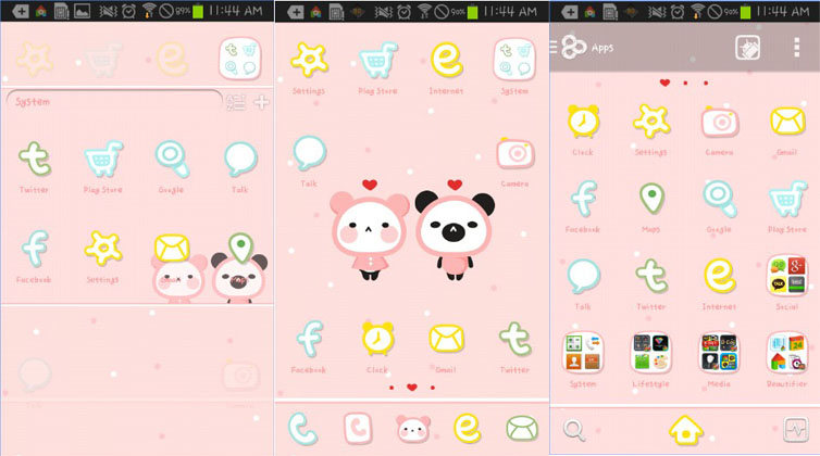 tema android lucu pink love go launcher theme